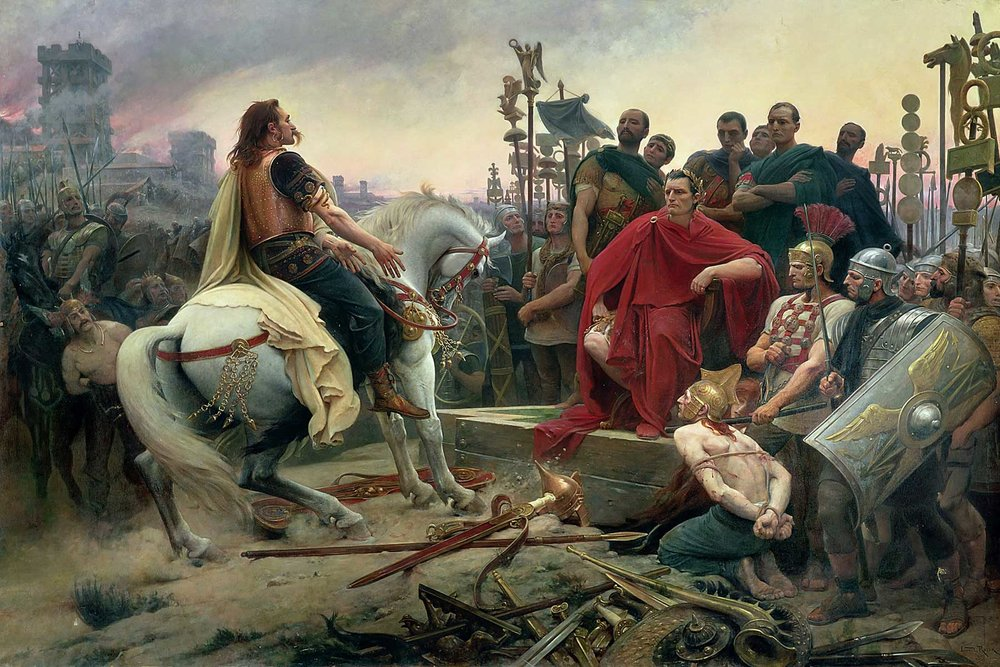 Vercingetorix throws down his arms at the feet of Julius Caesar.  Painting by Lionel Royer, 1899. The painting depicts the surrender of the Gallic chieftain after Caesar's victory in the Battle of Alesia in 52 B.C.