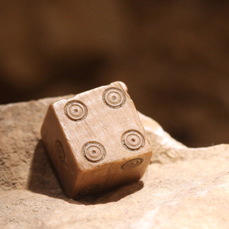 A tessera or a Roman six-sided die from the Vidy Roman Museum. Photographed by Rama.