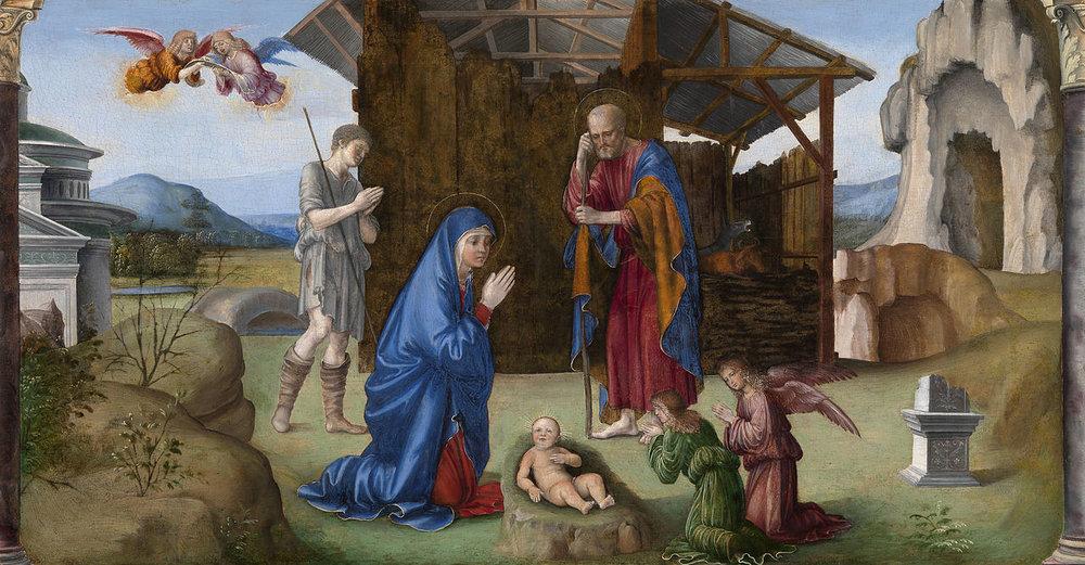 The Nativity of Christ  by Francesco Francia, ca 1490.