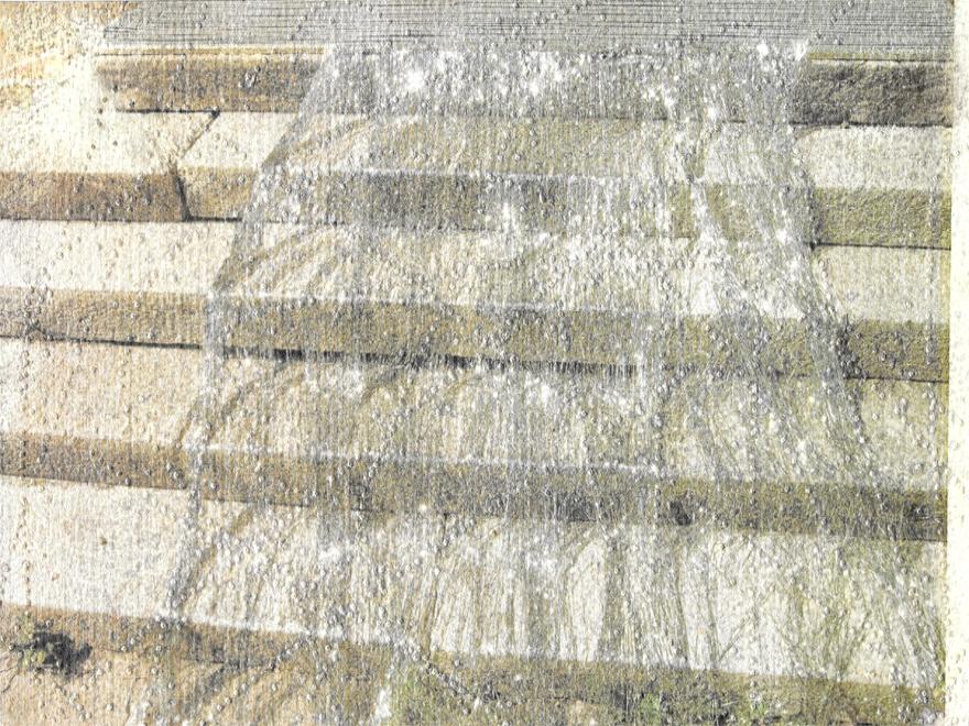 silver fall  Unikat, entstanden im Hotel Palace, Nairs, Inszenierte Fotografie, Print, Lochungen und Silberpigmente / Aquarellblockpapier 20cm x 27.5cm