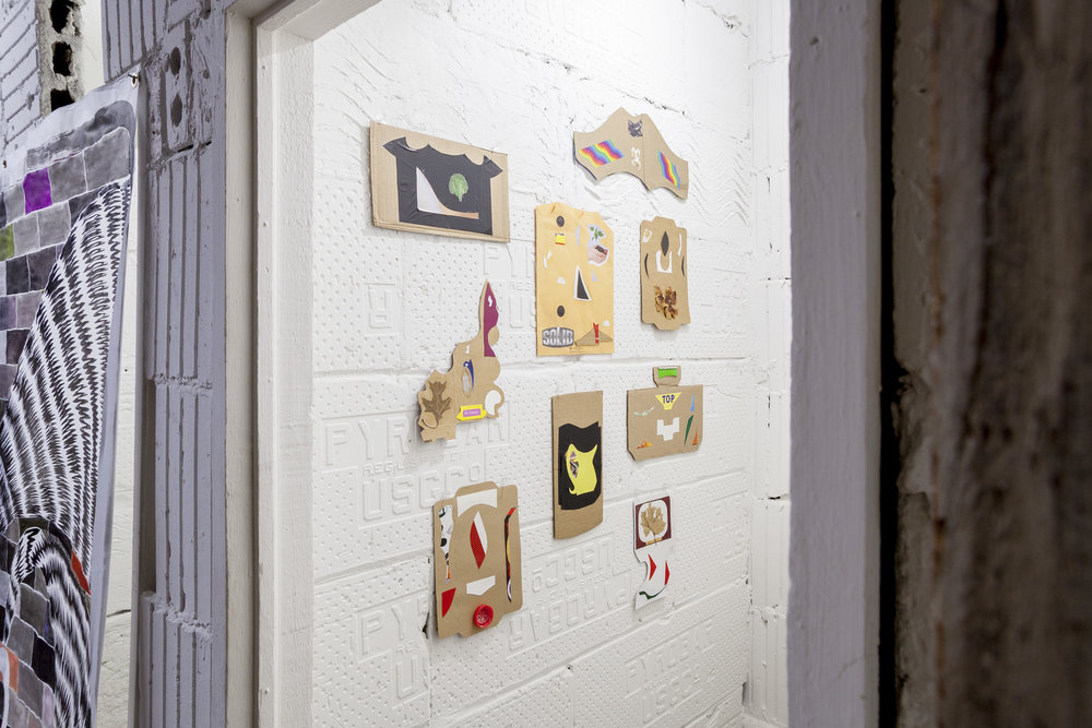 Selection of collages by artist and store proprietor Thomas Kong