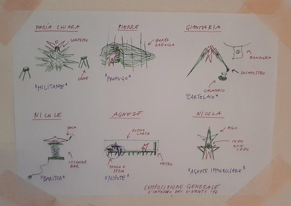 Luigi Greco Architetto - site specific installation - Ravenna - Dante - L inferno dei viventi - sketch