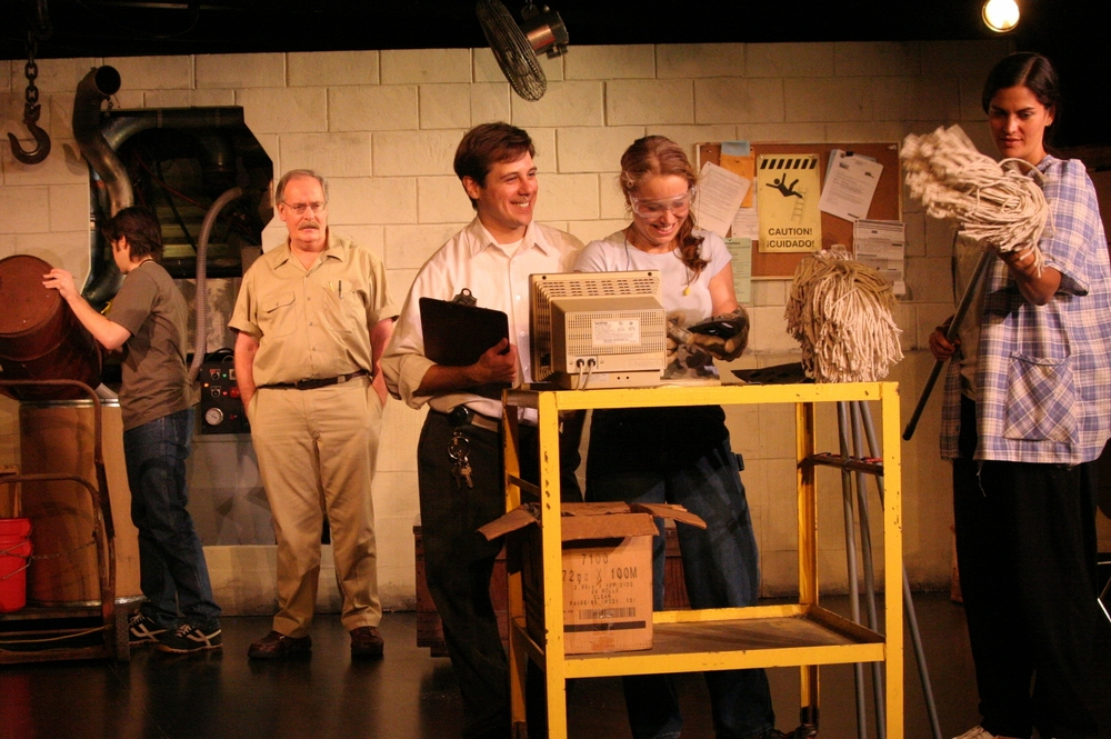 A scene from American Machine at FlynnSpace. From l. to r. Colin Cramer, Dennis McSorley, Seth Jarvis, Bridget Butler, and Teresa Lorenco.  Photo Myesha Gosselin