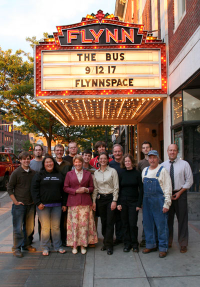 "The first cast and crew of ""The Bus"" at FlynnSpace in Burlington, VT"