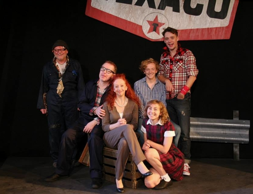 "The London cast of ""The Bus"" at Above the Stag Theatre"