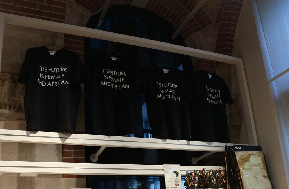 THE FUTURE IS FEMALE AND AFRICA T-SHIRT stocked in the museum's shop