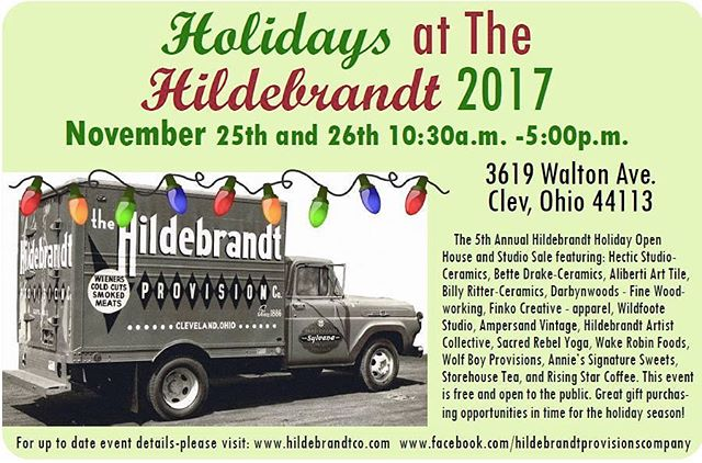 Sadly we cannot be there this year, but this is a terrific #smallbusinesssaturday (and Sunday!) event that shouldn't be missed. #Shopsmall at the Hildebrandt this weekend! Duh! #supportlocal #thisiscle #holidaysatthehildebrandt