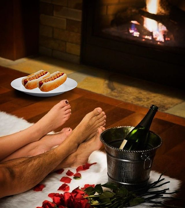What could be more romantic than a fireside hot dog date on a cold winter night? #coldnightshotdogs #romance #babyitscoldoutside #tubemeats #fireplace #datenightin #bae #lemmegetawolfboy #bonafide