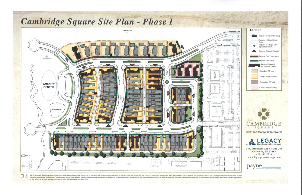 This is the site plan for the first phase of residential development at Cambridge Square. Click on the plan to enlarge and identify your new homesite.