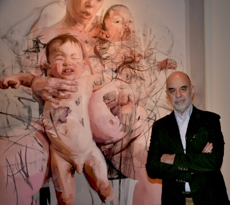 Kenneth Silver, Co-Curator of Her Crowd, Jenny Saville, The Mothers, 2011. Oil and charcoal on canvas, 106 5/16 x 86 5/8 in. Collection of Lisa and Steven Tananbaum © Jenny Saville. Courtesy of the artist and Gagosian Gallery.