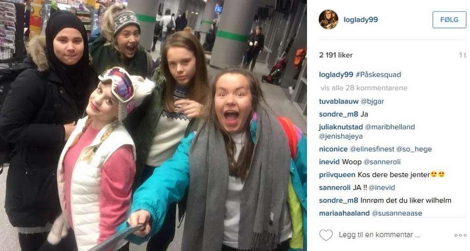 SKAM på Instagram, bild lånad från Pinterest. Älskar att de har selfiepinne!