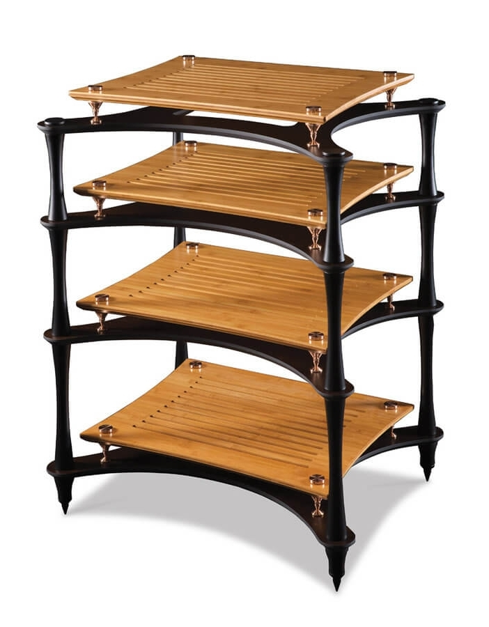 The Xreference is a rack within a rack with each X shaped shelf supporting an SVT shelf with solid bronze feet. Finally small Bronze spike locators hold the SVT shelf and Bronze feet in place on the X shelf.