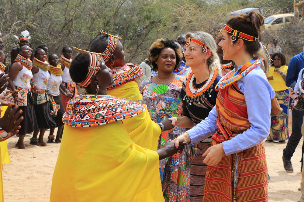 Beaders welcoming crown princess Mary of Denmark at Kalama conservancy