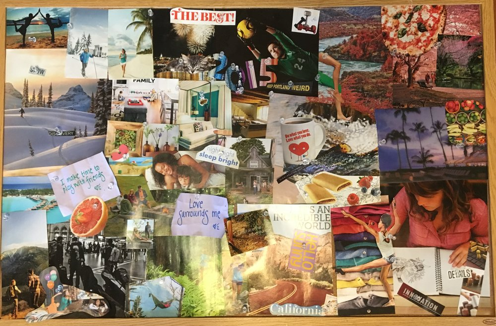 Our family vision board from 2015. We reuse the same bulletin board each year and just pin the magazine clippings on the board. When the new year rolls around we take a photo of the board before we take the pins out and choose new images for the new year.