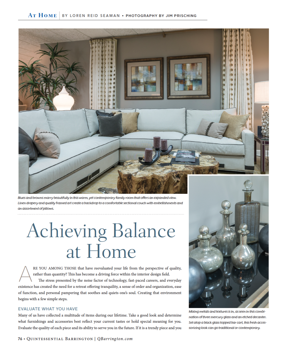 Quintessential Barrington Magazine Featured LRS Interiors With This At Home  Article.