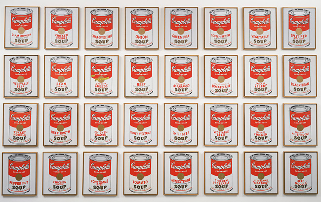 "Andy Warhol| Campbell's Soup Cans | 1962, <u><a href=""http://www.moma.org/explore/inside_out/2015/04/29/serial-singular-andy-warhols-campbells-soup-cans/"">via</a></u> MOMA"
