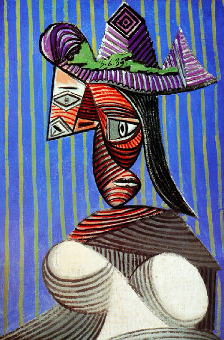 Pablo Picasso | Woman with a Striped Hat | 1939