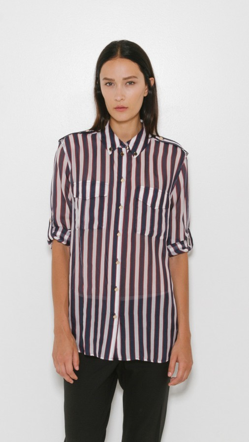 Equipment Striped Silk Shirt via The Dreslyn. Buy here.