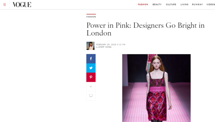 Here's a post from early 2015 ushering in the era of pink (granted this was bright pink, but we knew light pink would follow).  Via  Vogue.