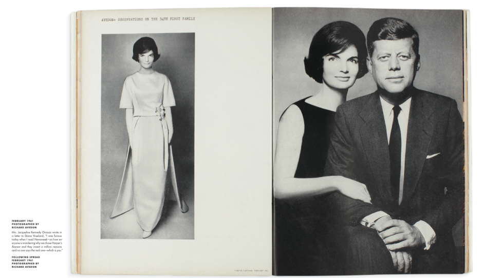 The first published images of the President and First Lady in Harper's Bazaar, February 1961. Photographs by Richard Avedon via Diana Vreeland's website.