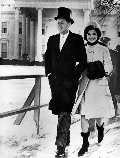 John F. Kennedy & Jacqueline Kennedy on Inauguration Day: January 20, 1961. Mrs. Kennedy, just 31 when her husband was sworn into office, wore a coat by American Designer and Kennedy supporter Oleg Cassini, and a pillbox hat by Halston.