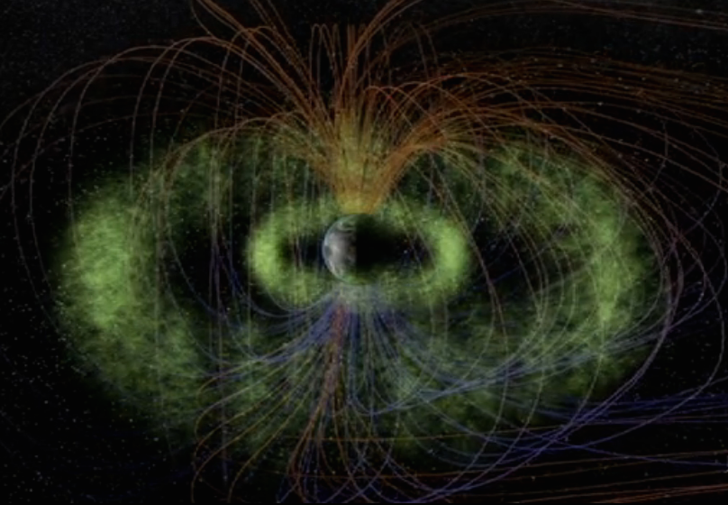 Magnetic fields at the earth's northern and southern poles, and Van Allen Radiation Belts. Image via NASA.