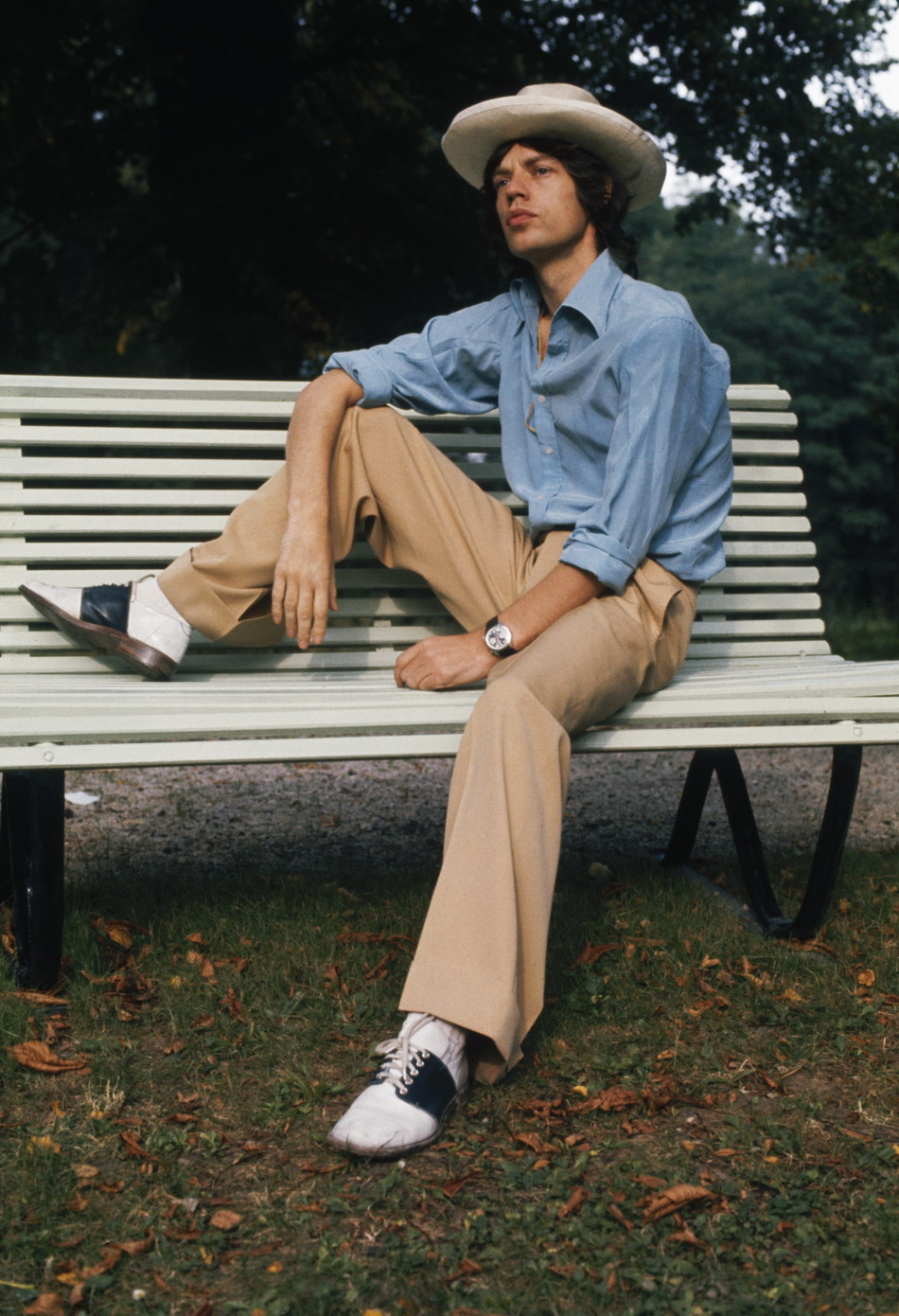 A young, pensive Jagger, or is it a young, pensive Mick? Photo: Anwar Hussein, 1973.