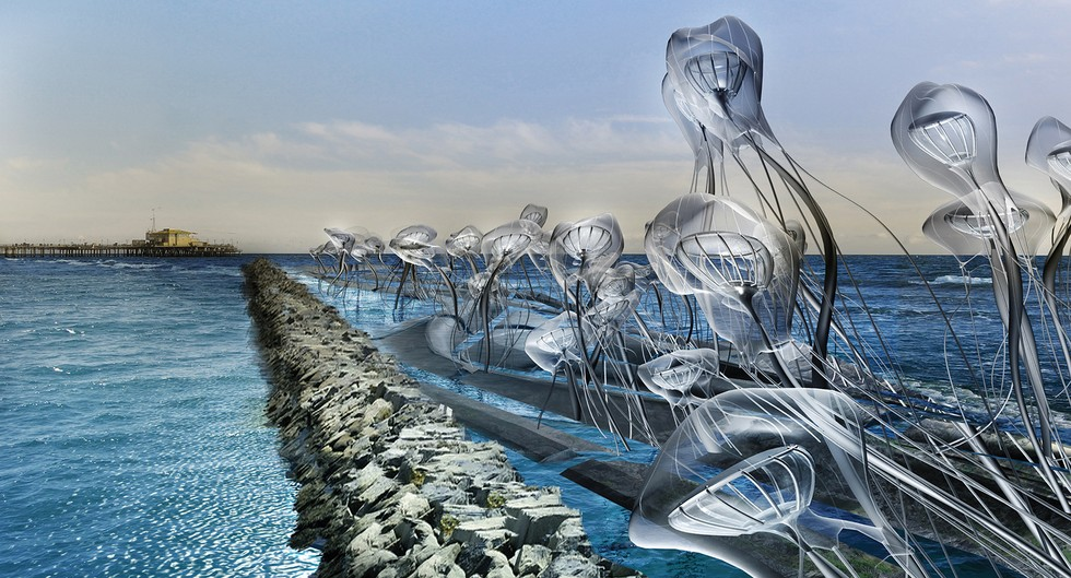 "2016 Finalist project Cnidaria Halitus by John Eric Chung, Pablo La Roche, Danxi Zou, Jingyan Zhang, and Tianyi Deng. ""Jellyfish-like structures collect and filter water through a centralized pipe system...The combination of these processes can create 600,000 liters of daily potable water, which amounts to 219 million liters of drinking water annually."""