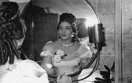 In 1951, before a performance of La Traviata in Florence. Photographer unknown.