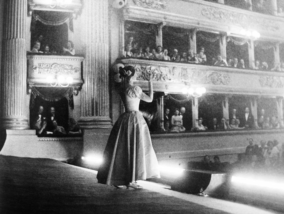 Performing La Sonnambula at La Scala in 1955. Photographer unknown.