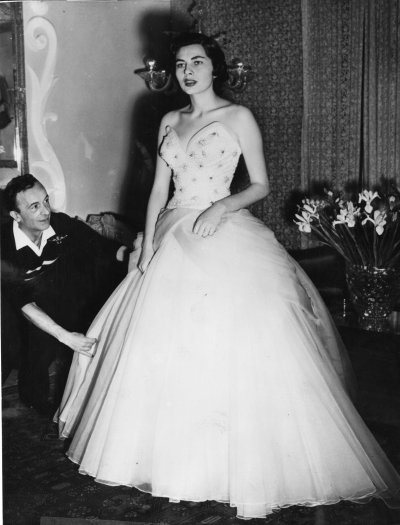 Fitting Empress Soraya of Persia for an evening gown in 1953,