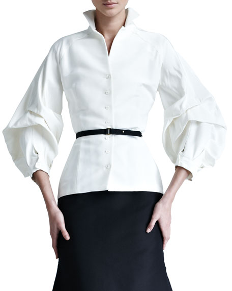 Carolina Herrera Silk Faille Blouse  via Neiman Marcus