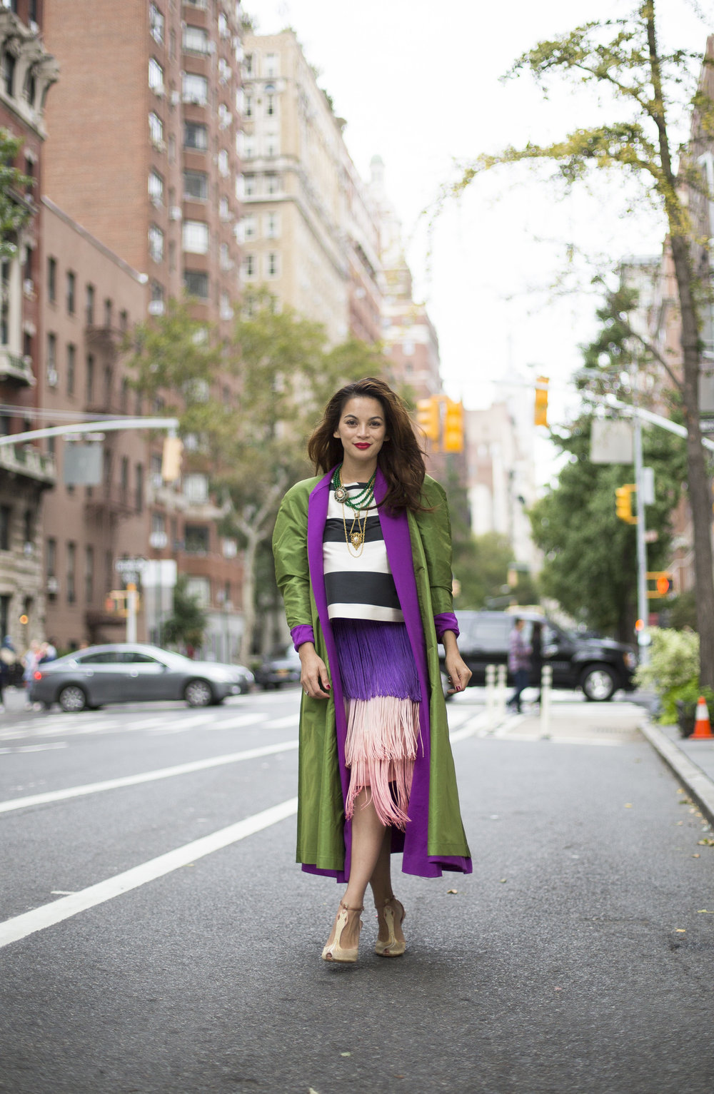 Vintage coat, Calypso skirt, Rochas top, Charlotte Olympia shoes, Vintage jewelry