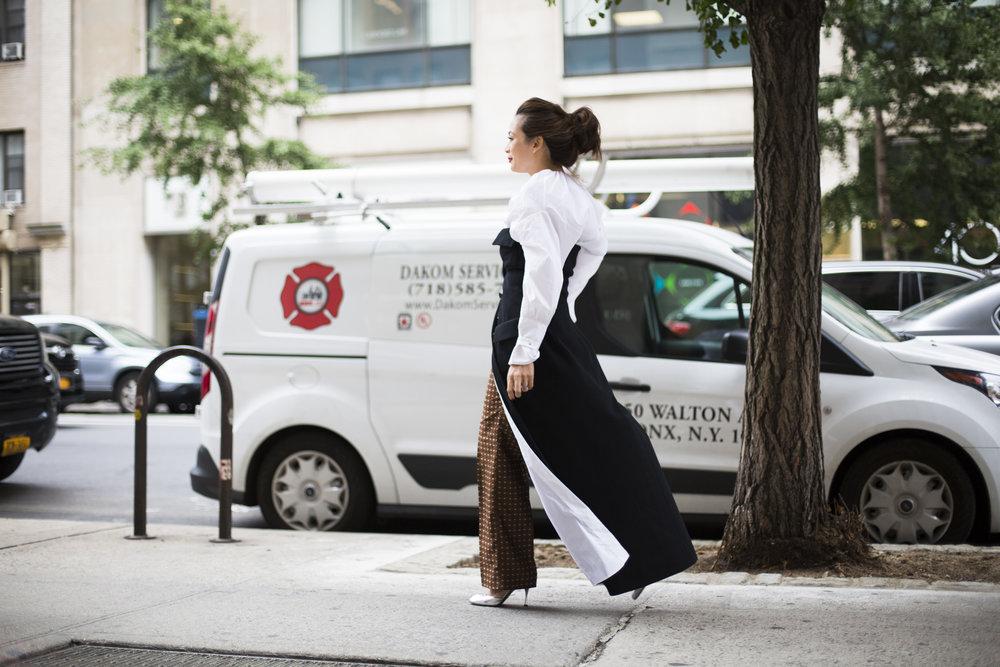 Esteban Cortezar shirt dress, Geoffrey Beene vintage dress from Shrimpton Couture, Fabrizio Lenzi pants,Dolce & Gabanna shoes
