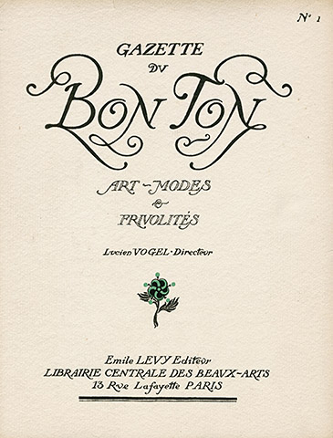 The first publication of the Gazette du Bon Ton (meaning the fashionable world)