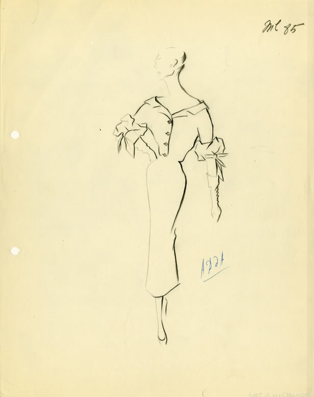 An atelier sketch by designer Cristóbal Balenciaga, Atelier Sketch, Winter 1953/1954