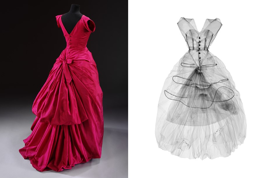 An x-ray of this Cristobal Balenciaga evening dress from 1954. Photo (L)via Victoria and Albert Museum, London; (R) by Nick Veasey via Tank Magazine.