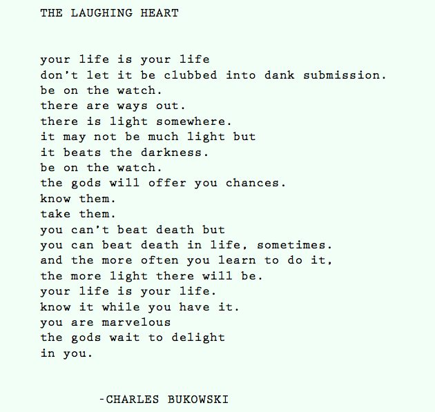 The Laughing Heart By Charles Bukowski One Who Dresses