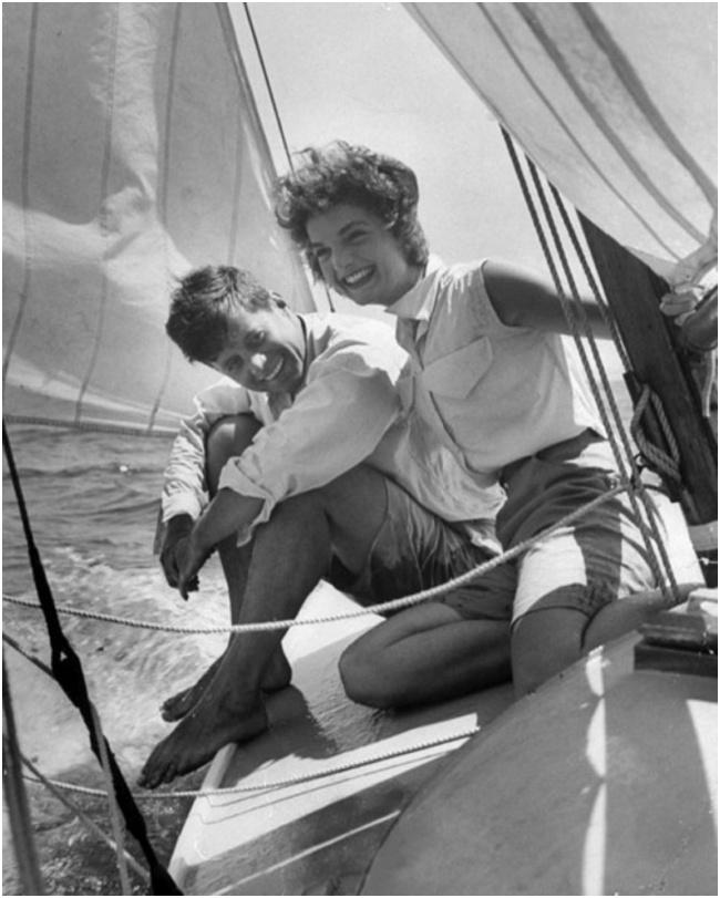 Jacqueline Bouvier with John F. Kennedy by Hy Peskin, June 1953