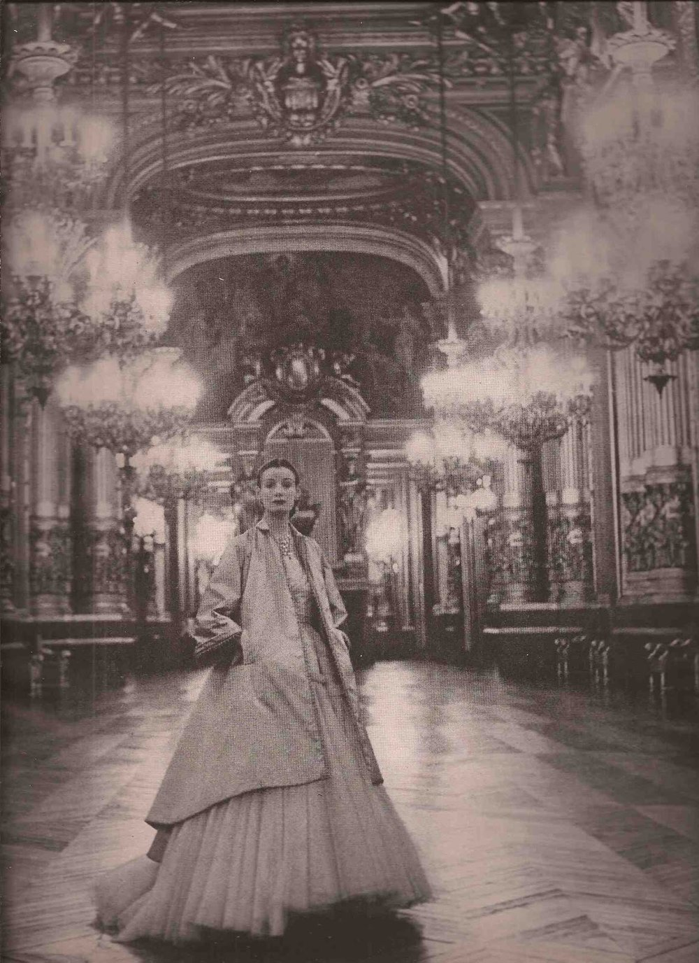 Christian Dior Summer Preview on a model at the Palais Garnier. Photo by Clifford Coffin, published in Vogue US April 1948.