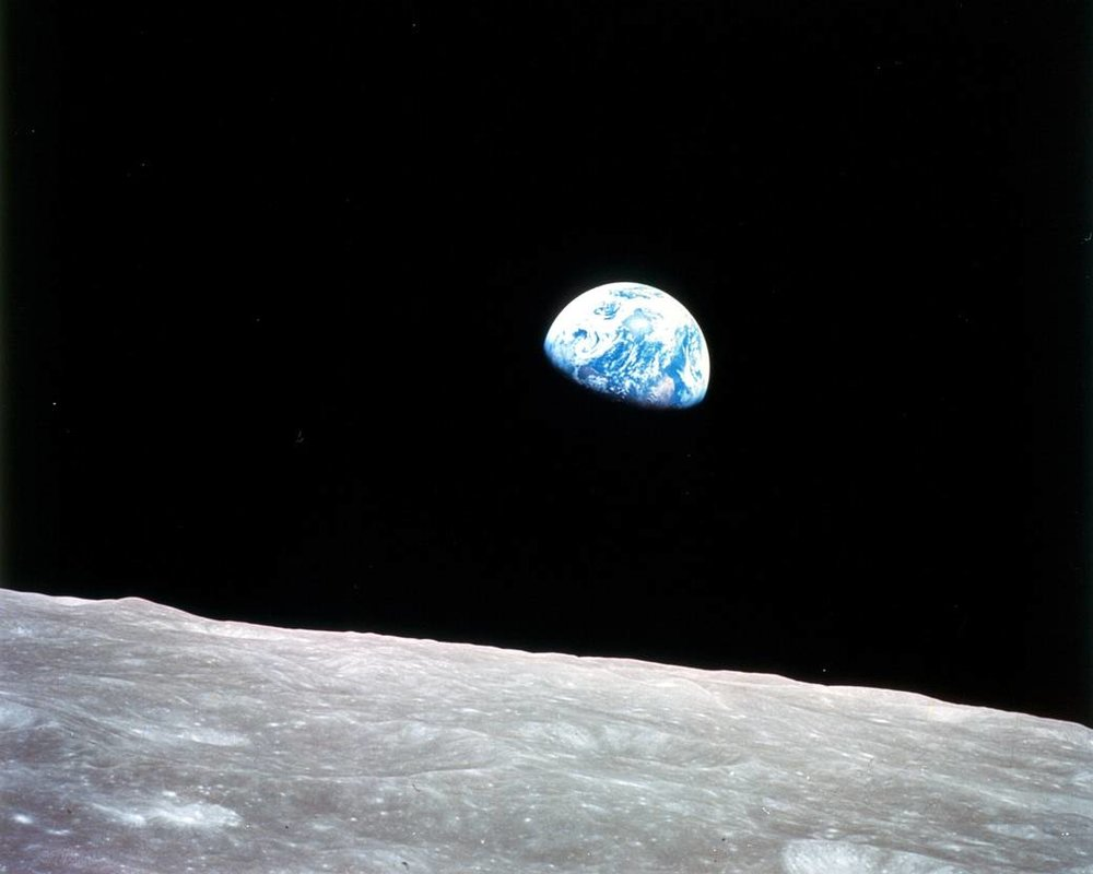 The earth as seen from the moon, pictured in December 1968 from the Apollo 8, the first manned mission to the moon. Image credit:  NASA .