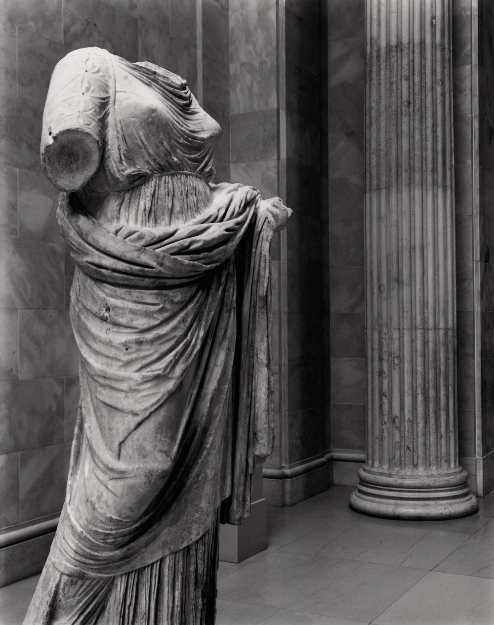 Greek marble statue of a woman from the 4th century B.C.  via  The Met