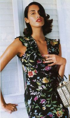 Yasmeen Ghauri in a 1990s floral dress; photographer unknown