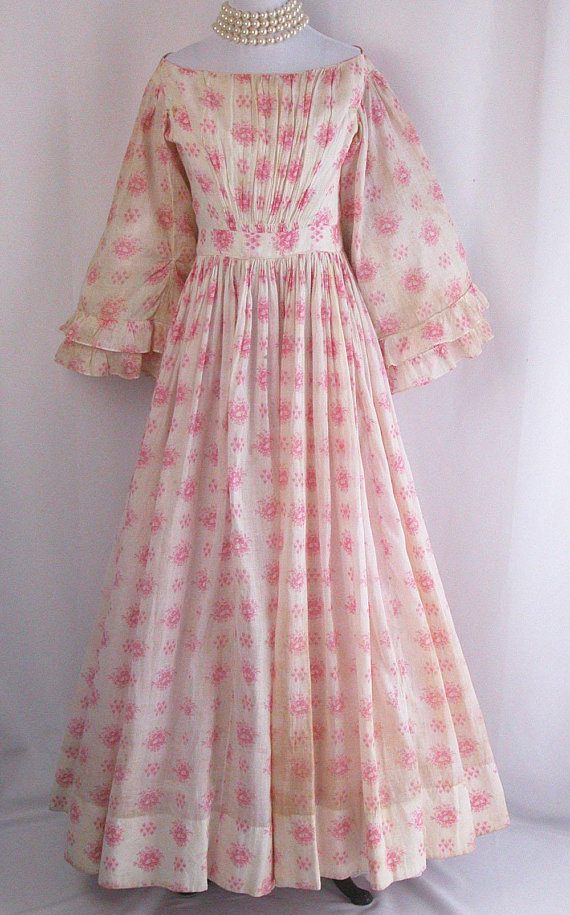 1850s Victorian Cotton Dress via Etsy