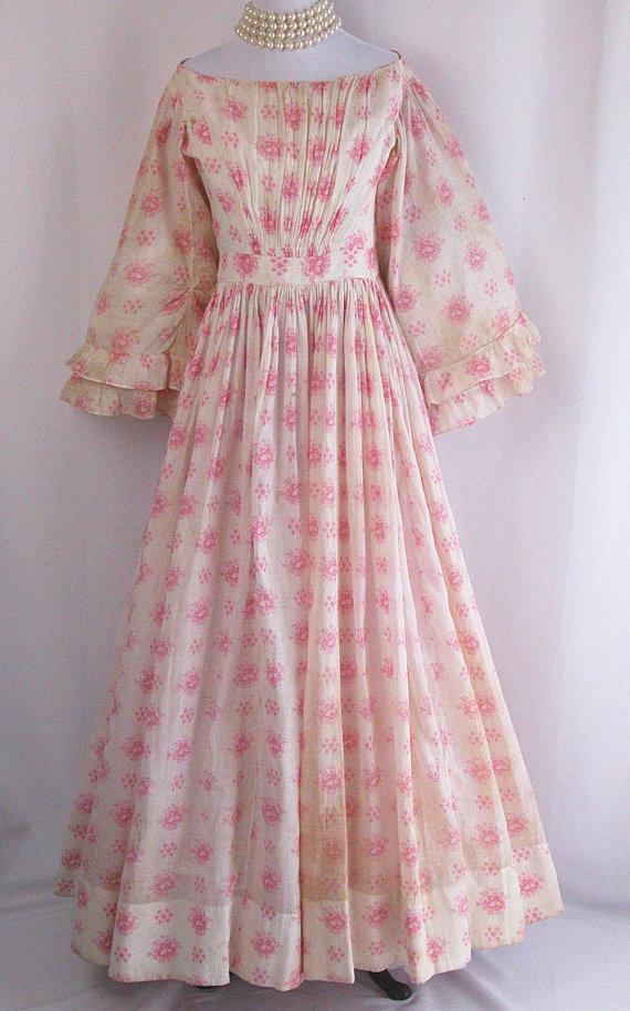 1850s Victorian Cotton Dress via Etsy