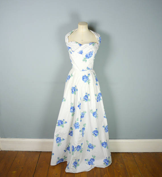 1950s Alice Edwards Cotton Floor Length Dress via Etsy