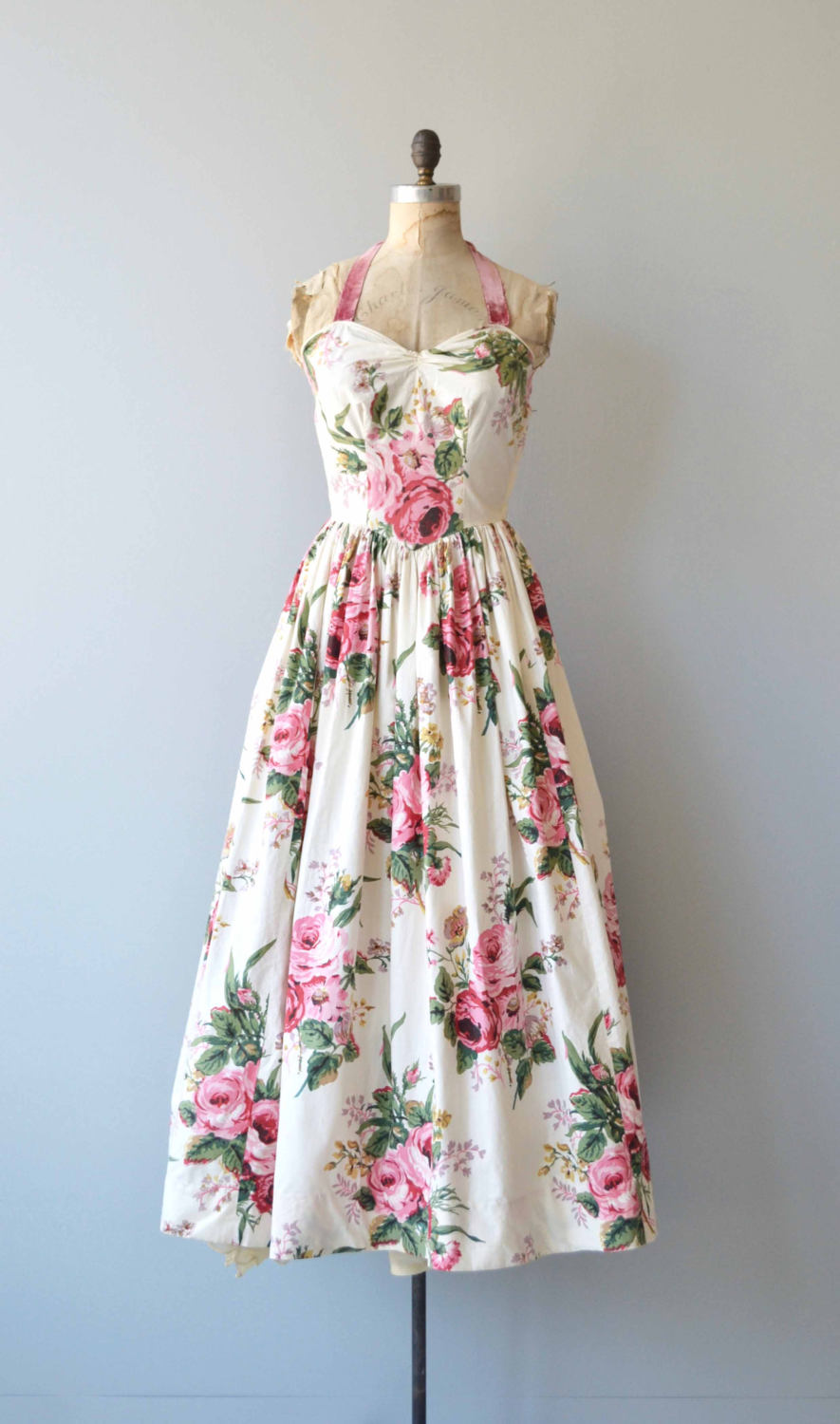 1940s Rose Printed Floor Length Cotton Dress via Etsy