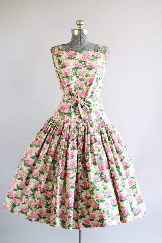 1950s Hydrangea Dress in Cotton Sateen via Etsy