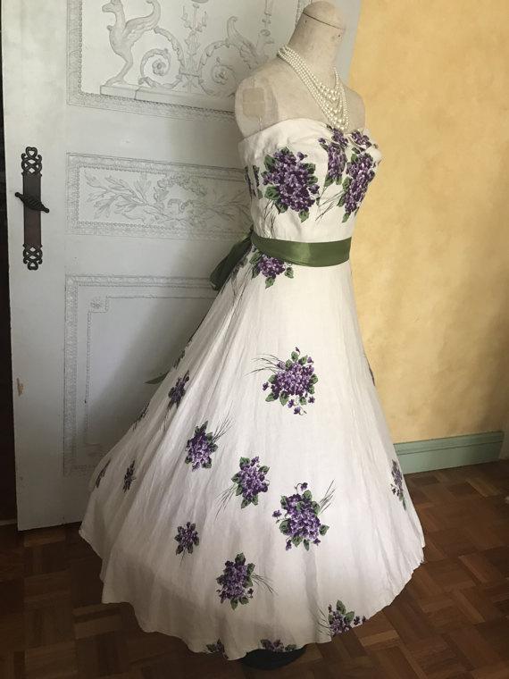 1950s Floor Length Cotton Dress via Etsy
