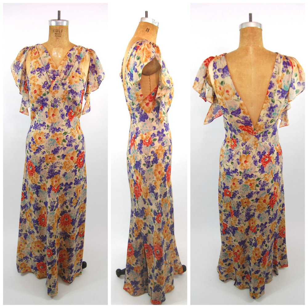 1930s Bias Cut Floral Dress with Matching Cape via Etsy